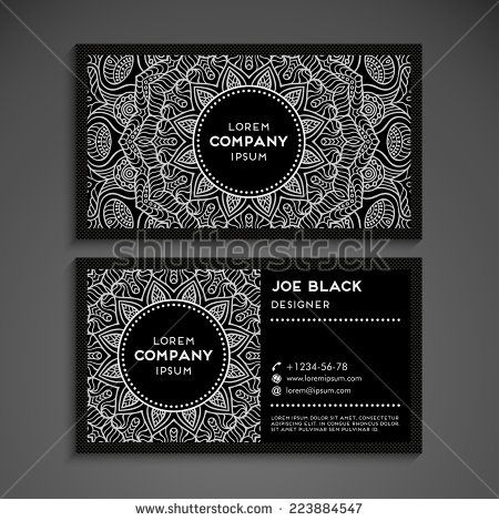 Vintage business card businesscards pinterest business cards illustration of business card vector background in ethnic style vector art clipart and stock vectors reheart Images
