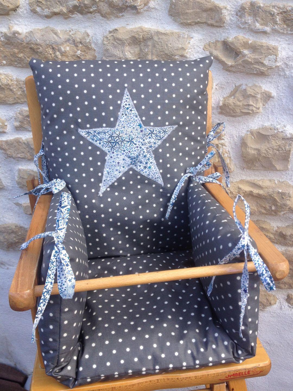 Coussin De Chaise Haute En Toile Enduite Grise Pois Blancs Etoile Liberty Puericulture Par Marius Et Nin Coussin Chaise Haute Chaise Haute Chaise Haute Bebe
