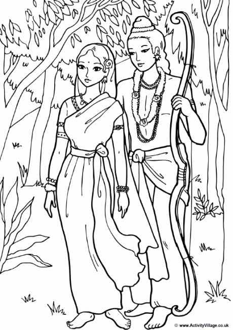 Rama and Sita colouring page; Rama and Sita wandering in