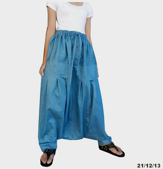 Chambray Harem Pant Drop Crotch Trousers.  Crotch is as dropped as it can get I believe.