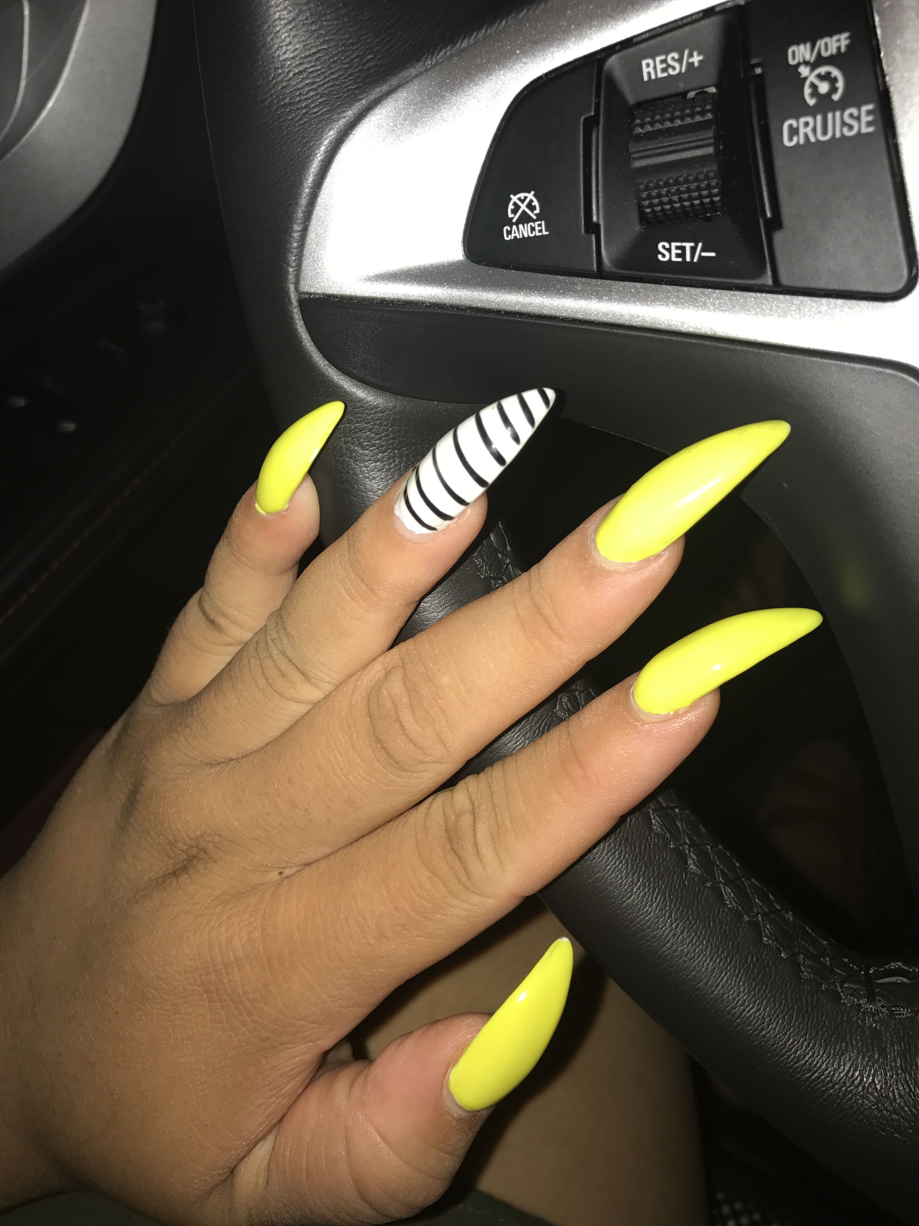 Neon Yellow Stiletto Nails With Images Neon Yellow Nails