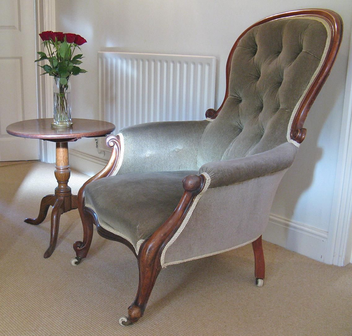 Armchair Upholstery Victorian Mahogany Show Frame Armchair With Button Back Upholstery