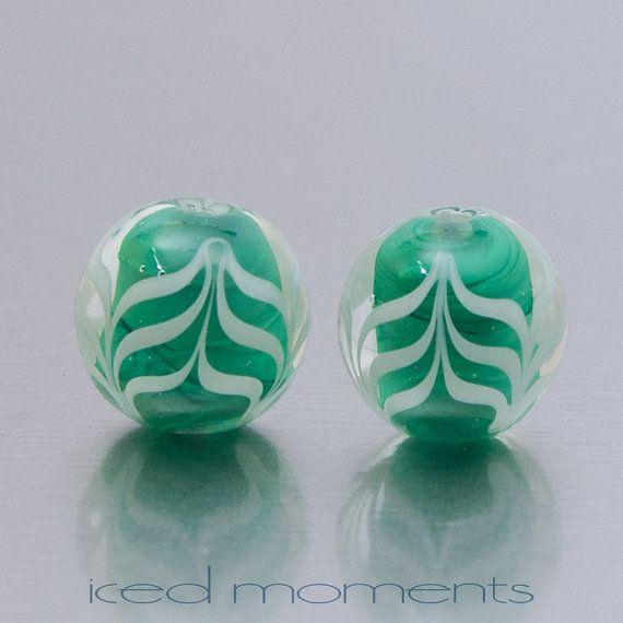 pale green Handmade lampwork bead pair