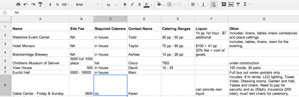 Venue Tracking Spreadsheet Wedding Venue Questions