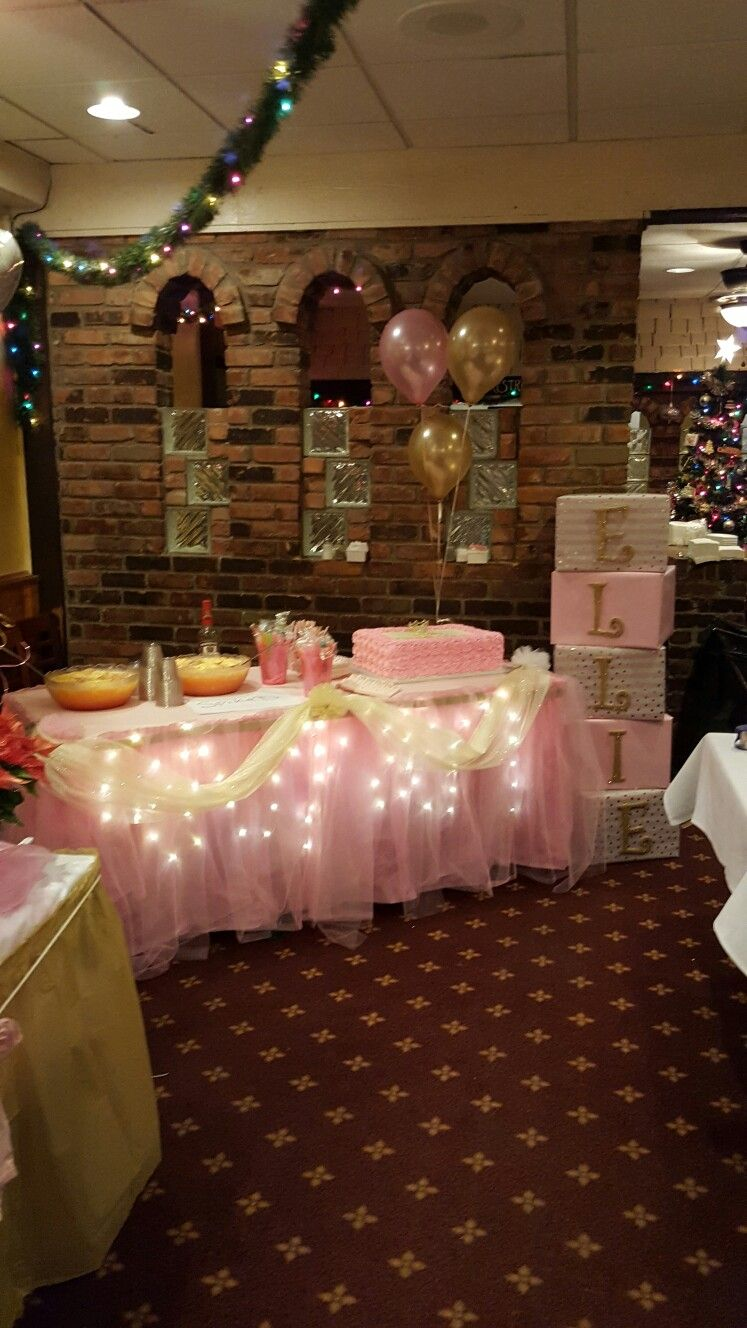 Pink and gold themed table for baby shower baby shower for Baby shower decoration ideas for girl
