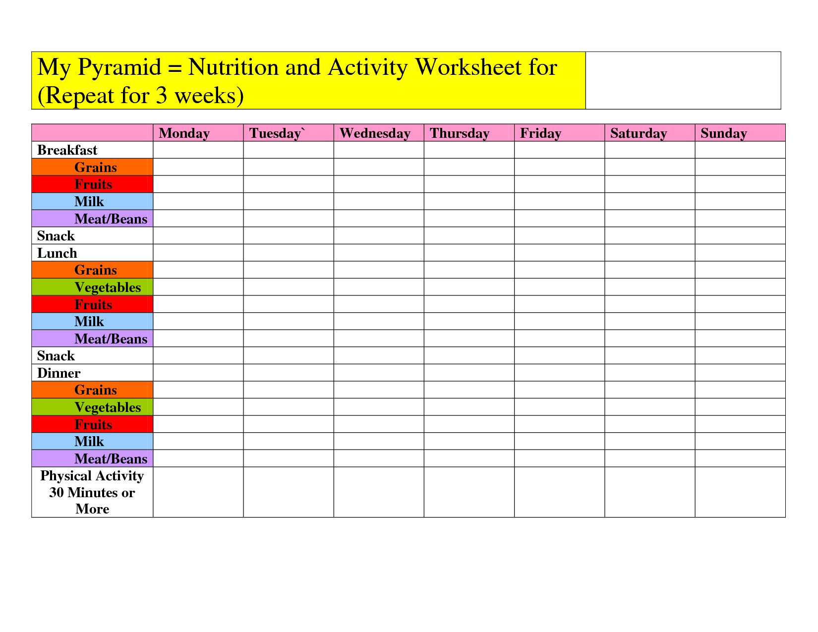 Myplate Worksheet My Pyramid Nutrition And Activity Worksheet For