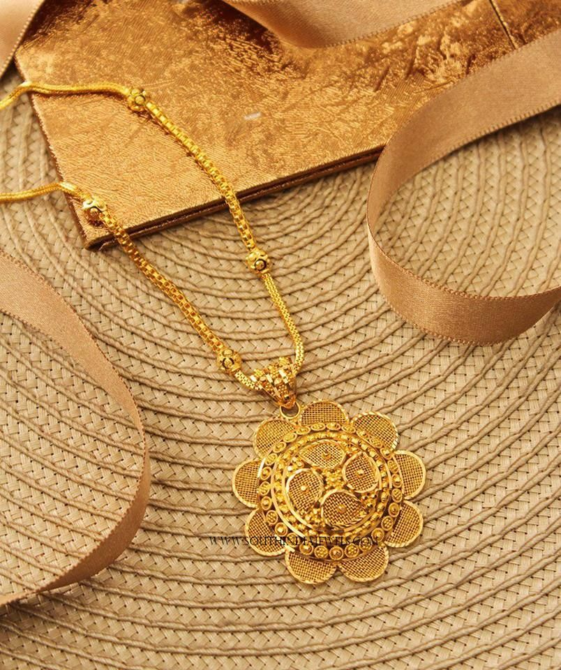 Gold Chain With Floral Pendant | Chain pendants, Gold pendant and ...