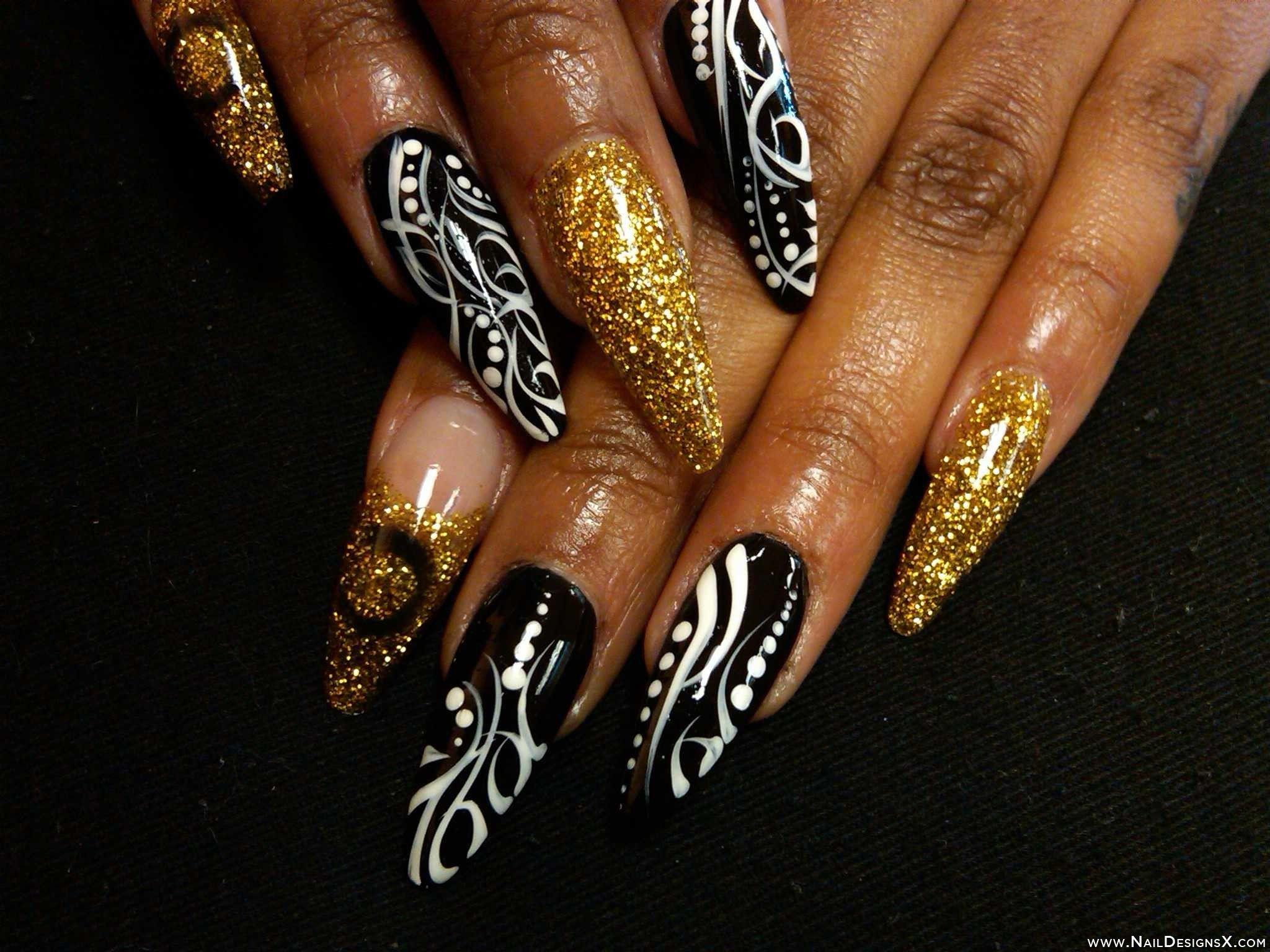 black,white, gold stiletto nail art » Nail Designs & Nail Art ...