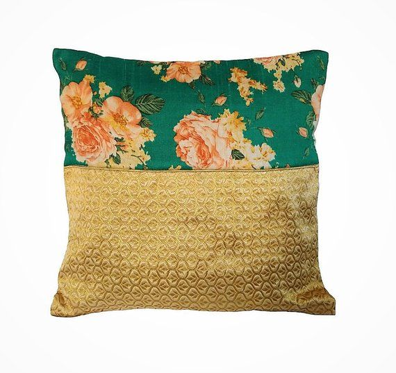 Green & Gold Pillow Cover/ Decorative pillow/ Green floral Pillow Cover/ Throw Pillow/ Green Gold Ac images