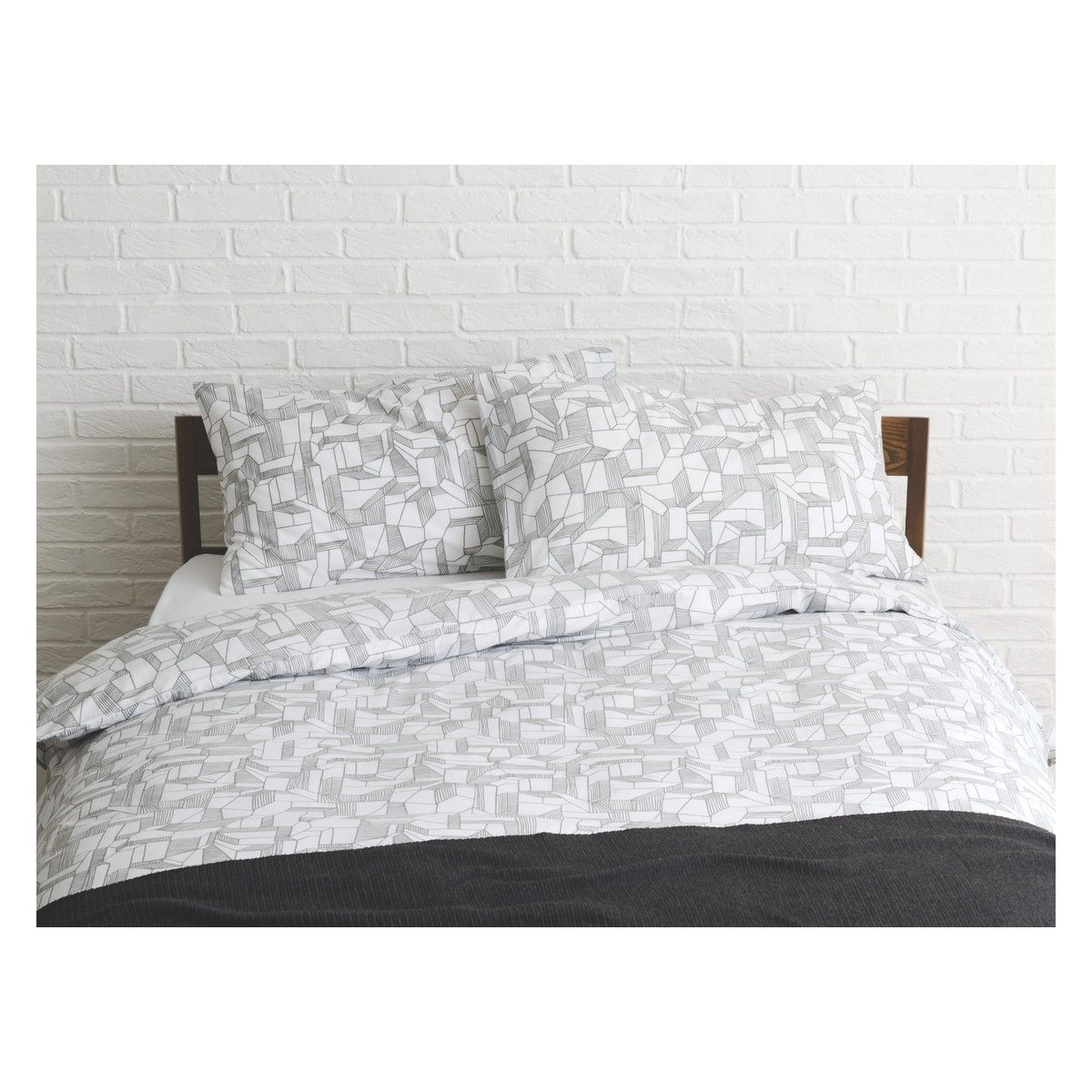 MINERAL Grey patterned double duvet cover set | Buy now at Habitat UK