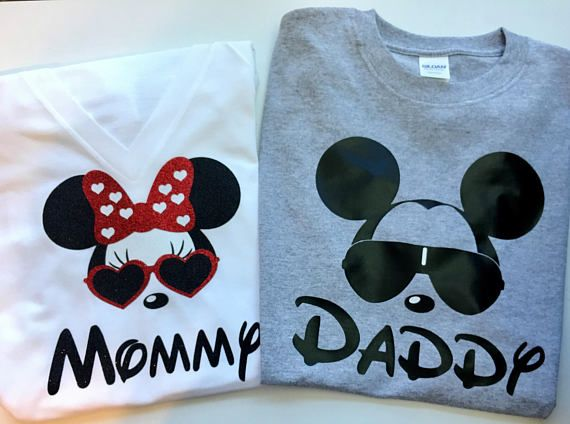 728411ae7 Minnie Mouse and/or Mickey Mouse Mom and Dad Family Shirts! Please contact  me for other designs/characters/names etc. I can do all types of families ( babies ...
