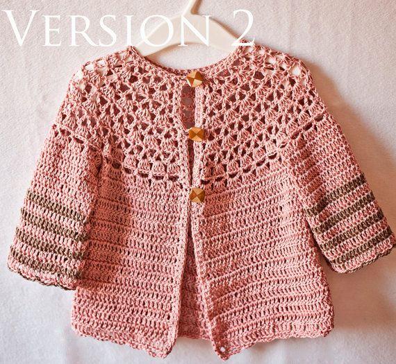 Crochet PATTERN - Lace Cardigan (one pattern - two cardigans ...