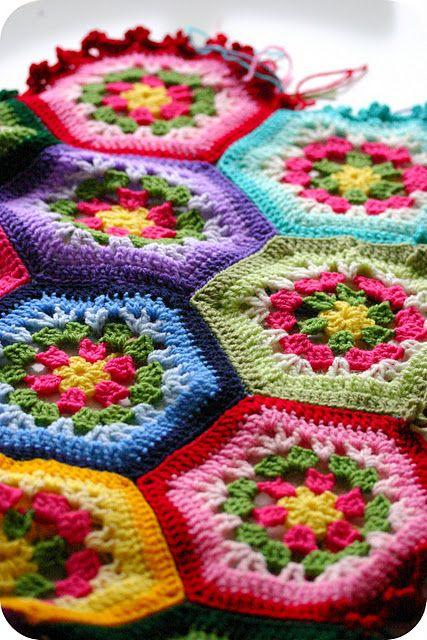 COLCHA hexagonais...:-)