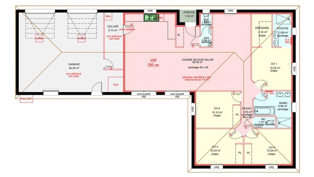 Maisons plain pied 4 chambres de 120 m construite par demeures familiales plans en 2019 - Plan maison plain pied 120m2 ...
