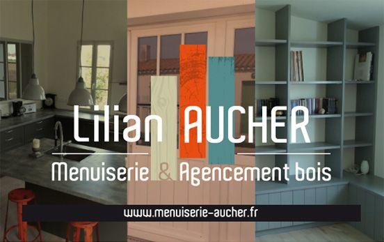 Visuelle Pour La Menuiserie Aucher Agencement Bois Sur LIle De Re Identite Logotype Et Illustration Carte Visite