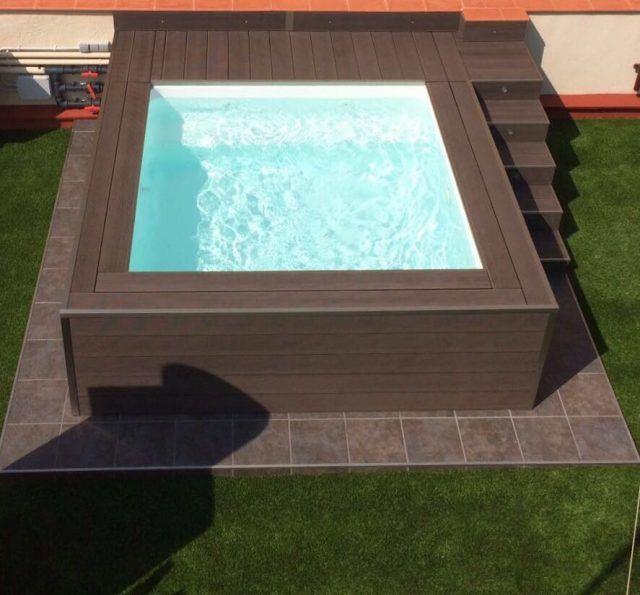 Mini piscina c 2 patios pinterest mini piscina for Fabrica de piscinas de fibra de vidrio