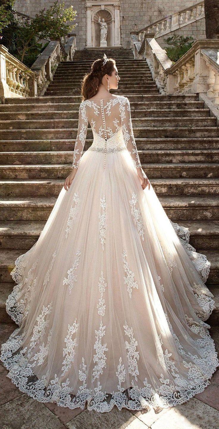 US $ 225.49-Beautiful Best Perlen Tüll Spitze Brautkleid mit langen Ärmeln … – Hochzeit und Braut