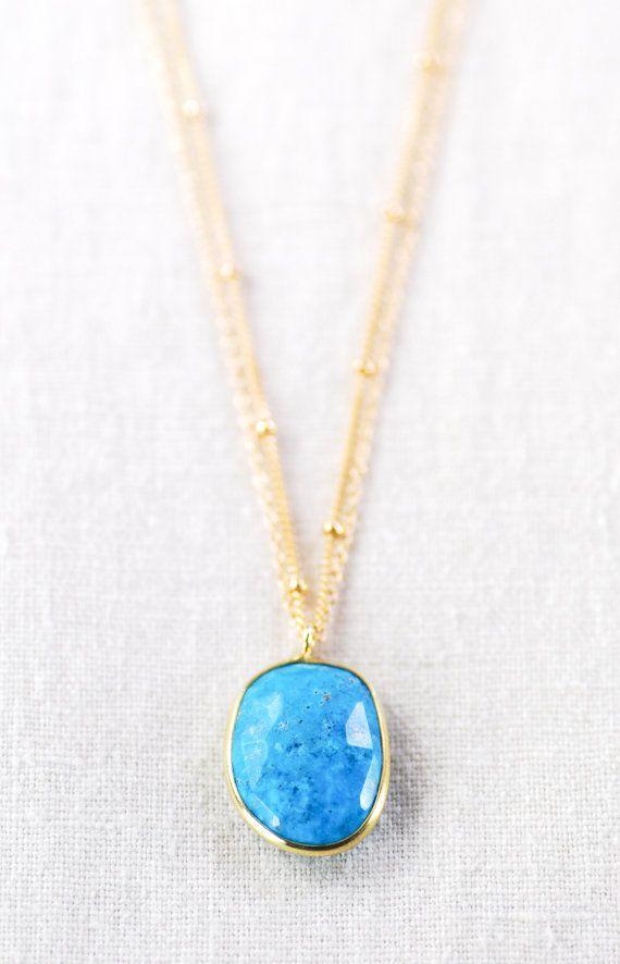 Ka'ohu necklace double layered gold turquoise