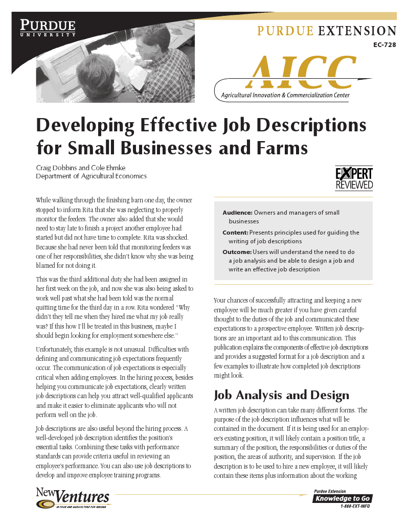 Developing Effective Job Descriptions for Small