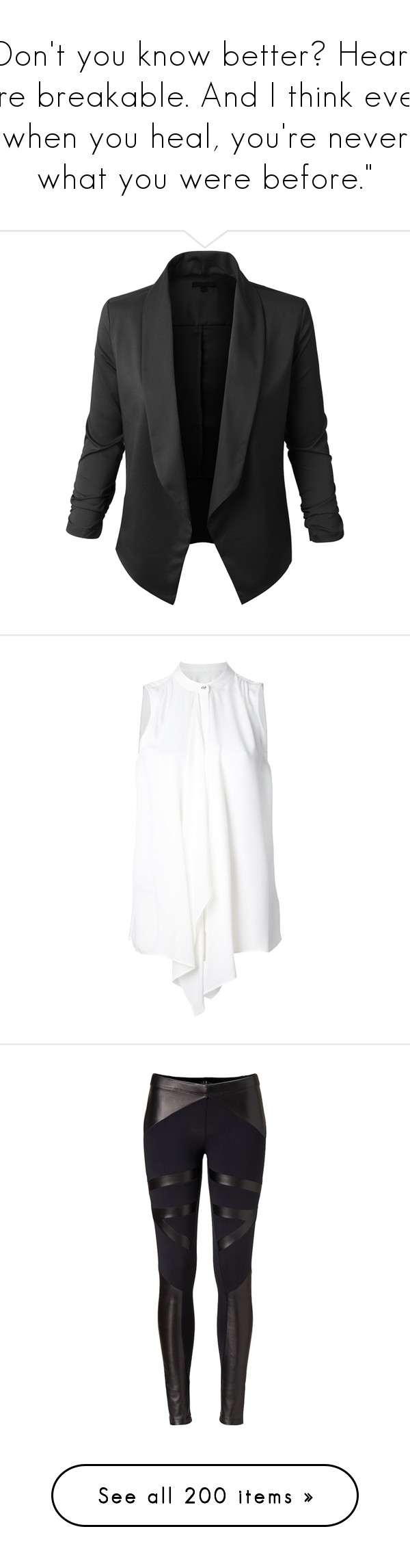 """""""Don't you know better? Hearts are breakable. And I think even when you heal, you're never what you were before."""" by foreverisallthatineed ❤ liked on Polyvore featuring outerwear, jackets, blazers, tops, lightweight jacket, lightweight blazer, light weight jacket, tuxedo blazer, tux jacket and blouses"""