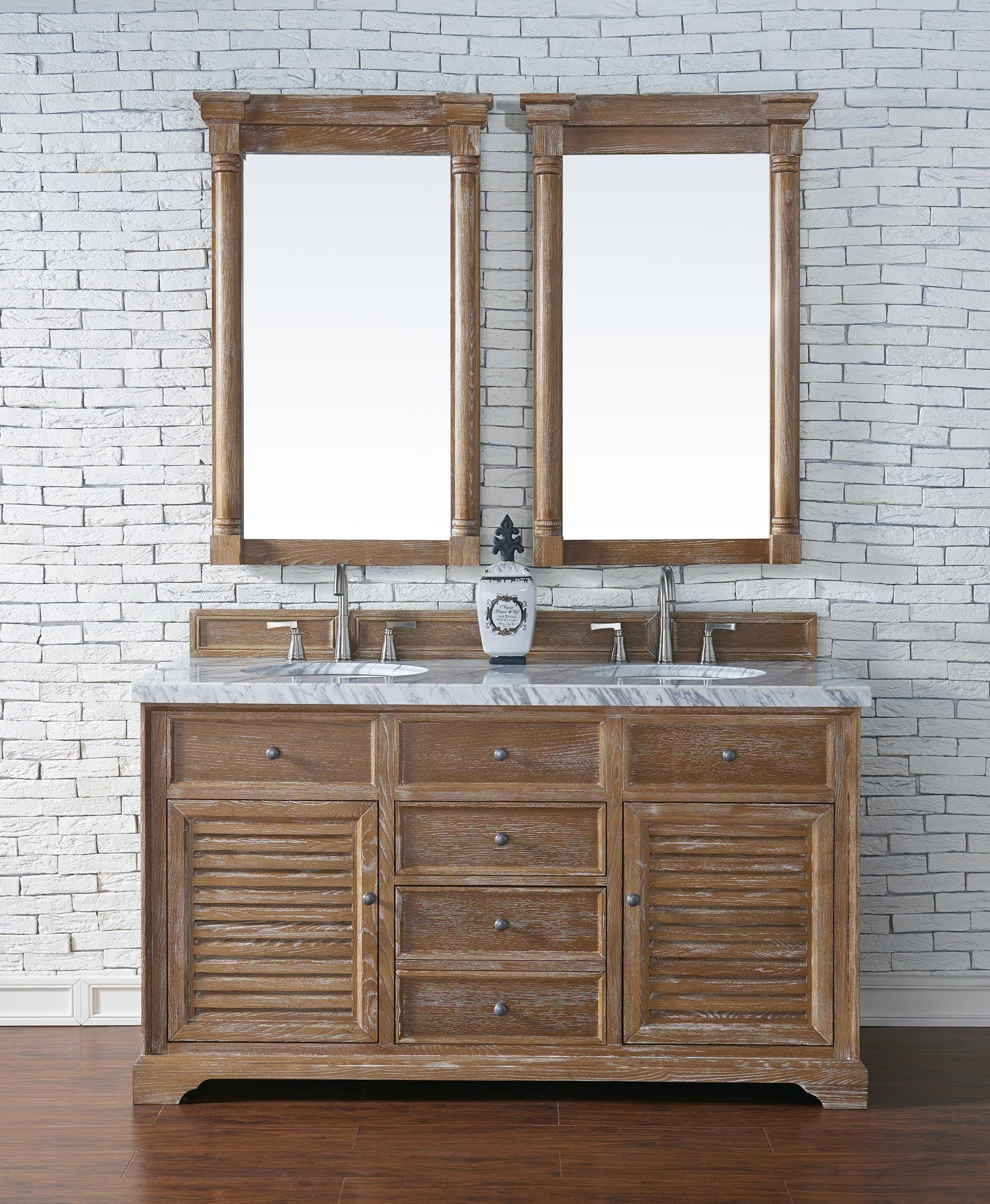 savannah 60 double sink bathroom vanity cabinet driftwood finish rh za pinterest com 22 Wood Sink Cabinet for Bathrooms in Concrete Oak Bathroom Vanity Cabinets
