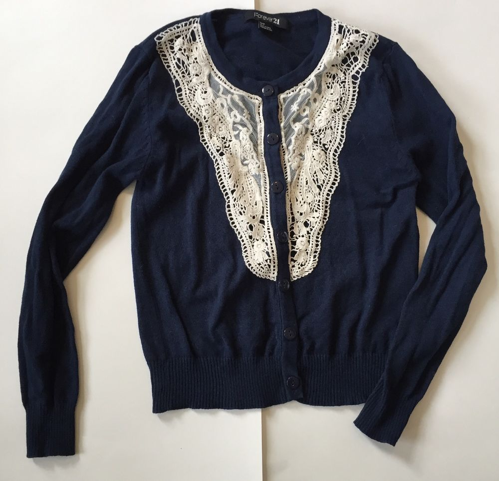 Forever 21 Cardigan S Navy Blue Lace Sweater Long Sleeve Button ...