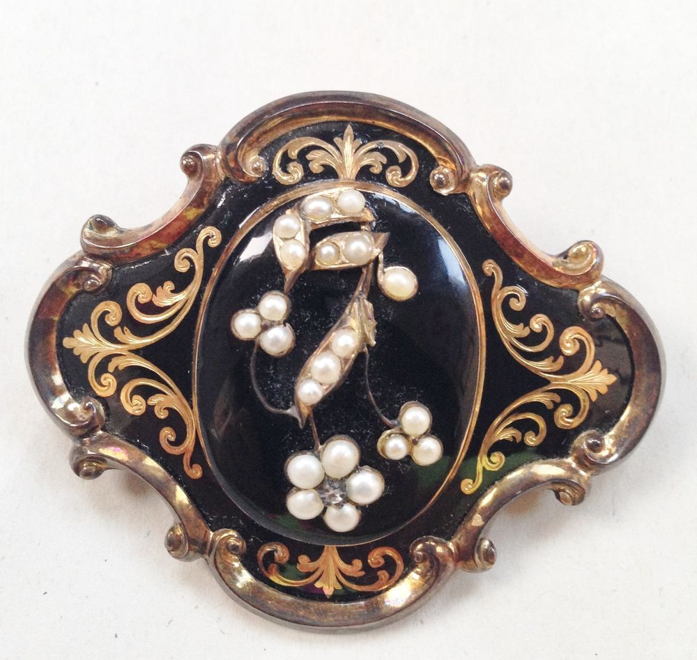 Vintage 14K Mourning Pin Brooch from 1851 with seed pearls has inscription
