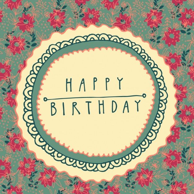 Floral Birthday Card Free Vector Happy Birthday Pinterest