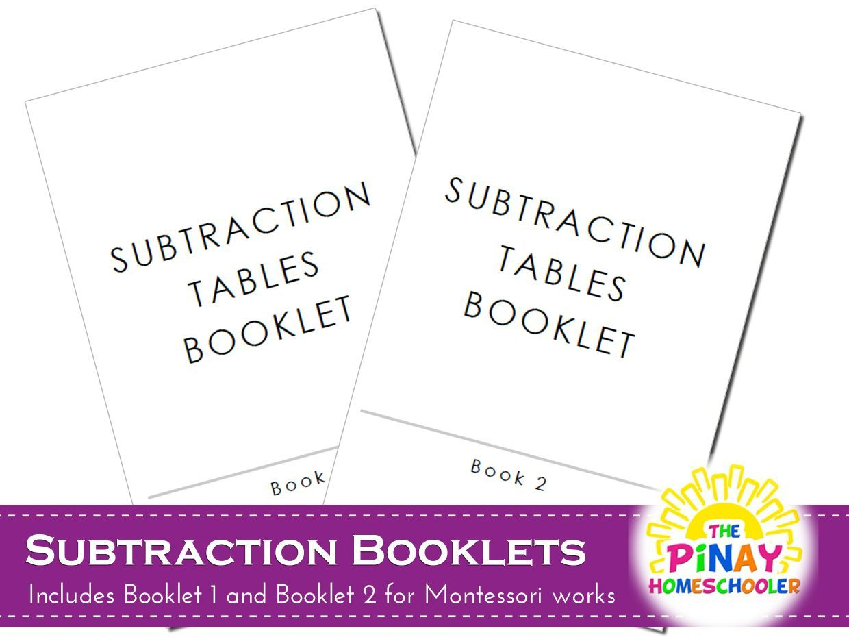 Montessori Subtraction Booklets 1 And 2 This Is In