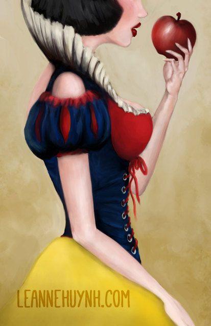 Snow White Art Illustration Print on Pearl Metallic Linen Paper by faedri