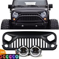 Jeep Jk Projector Headlights Rgb Halo Vader Grille Combo Pack Jeep Wrangler Accessories Jeep Wrangler Jeep Wrangler Grill