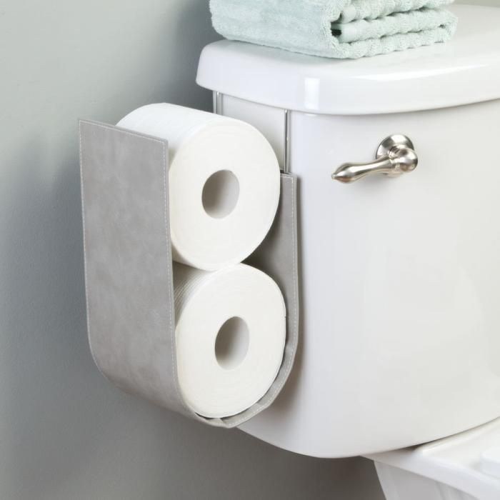 InterDesign Lauren Over-The-Tank Toilet Paper Roll Holder - Gray ...