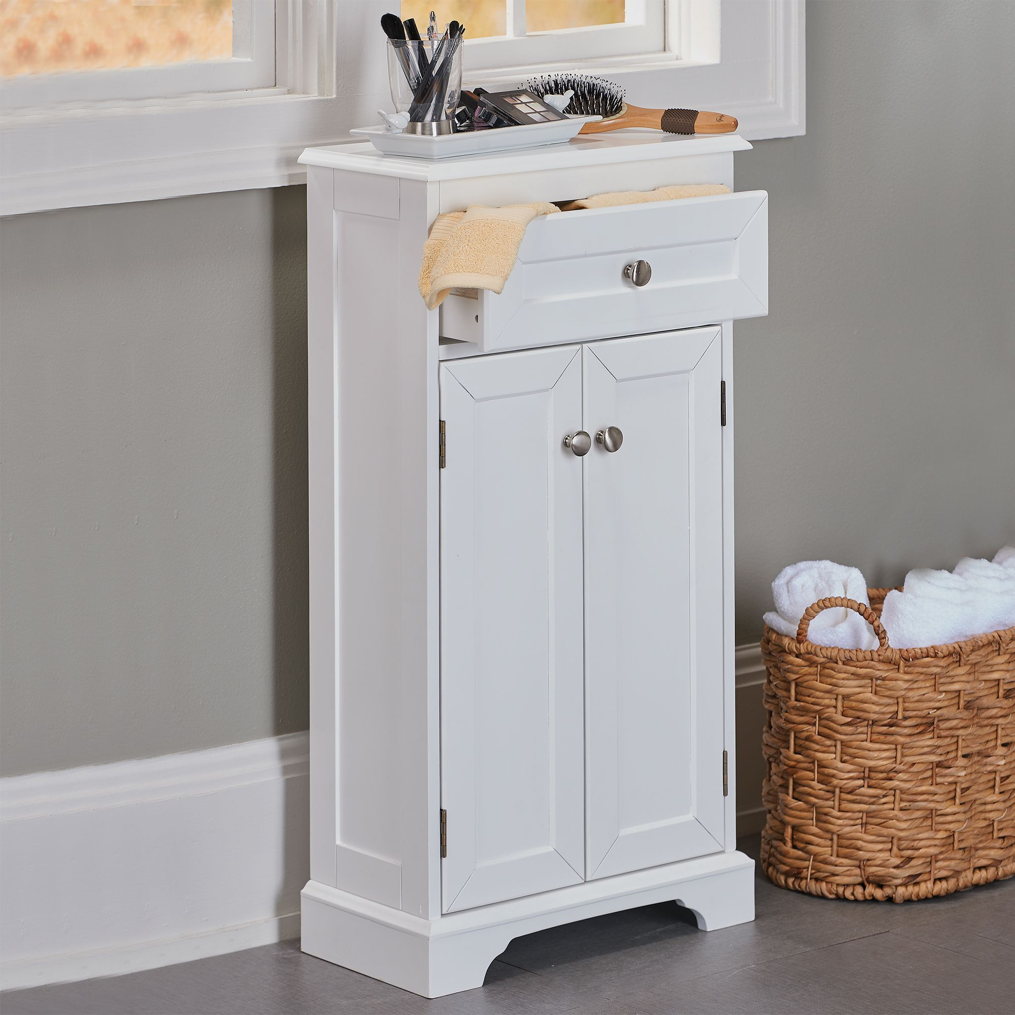 Weatherby white bathroom cabinet its slim design and for Bathroom cabinets small spaces