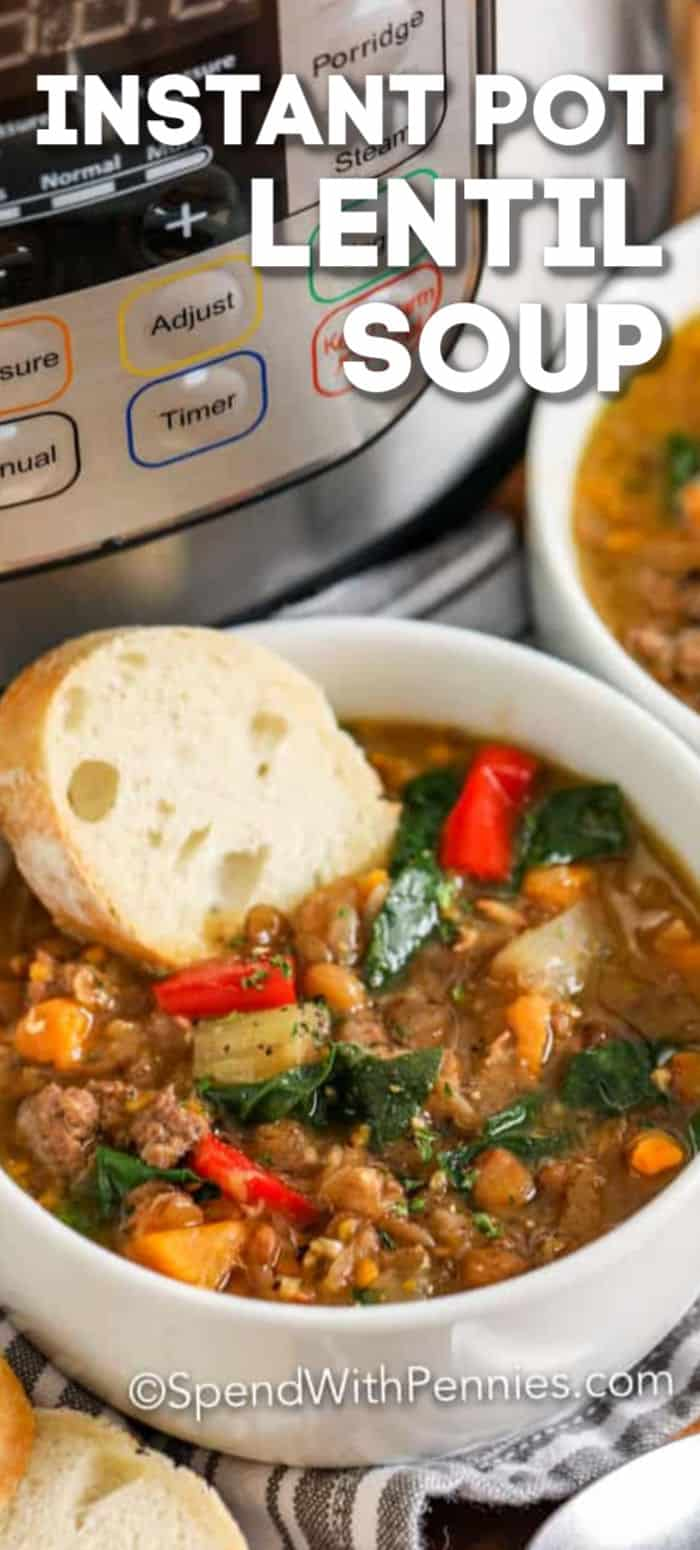 Instant Pot Lentil Soup Is A Hearty And Delicious Soup Ground Beef Lentils And Vegetables Are Co In 2020 Lentil Soup Easy Beef Recipe Instant Pot Ham And Lentil Soup