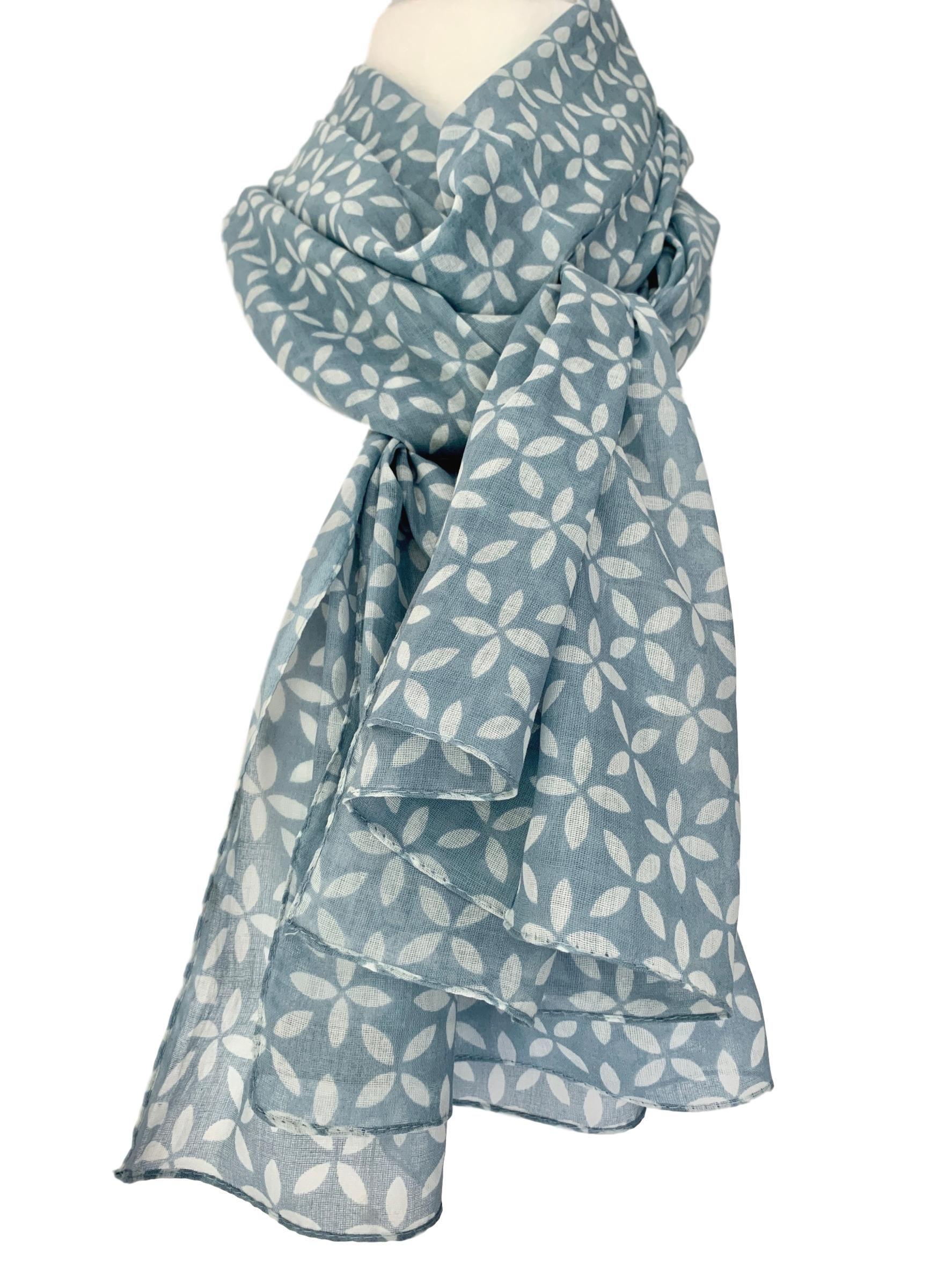 a2332c8f79d90 Large blue scarf with a white floral print. £13.99 with Free UK Delivery The