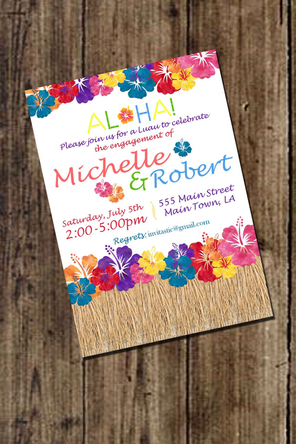 PRINTABLE Couples Shower INVITATION Digital PDF Retro Hawaiian – Engagement Party Invitations Etsy