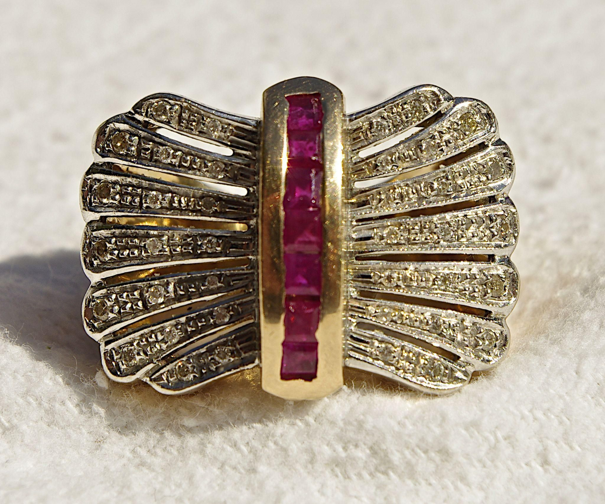 A Vintage 1940's Retro Art Diamond and Ruby Bow Shaped Cocktail Ring