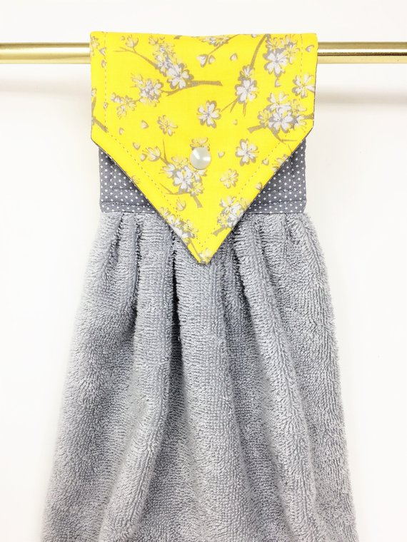 Yellow And Gray Hanging Hand Towels Grey Yellow Kitchen Hanging