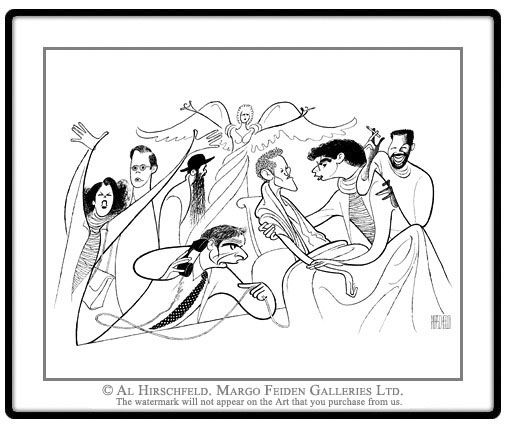 """AL HIRSCHFELD'S  ANGELS IN AMERICA, depicting RON LIEBMAN, STEPHEN SPINELLA, JOE MANTELLO, MARCIA GAY HARDEN, DAVID MARSHALL GRANT, KATHLEEN CHALFANT, ELLEN MCLAUGHLIN, AND JEFFREY WRIGHT. Hand signed by Al Hirschfeld, Limited-Edition Lithograph, Edition Size: 100, 18"""" (h) x 25"""" (w)"""