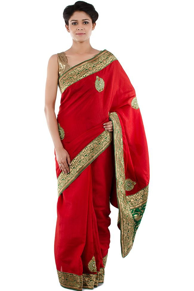 Red Saree With Golden & Green Border | Sarees | Saree, Red ...