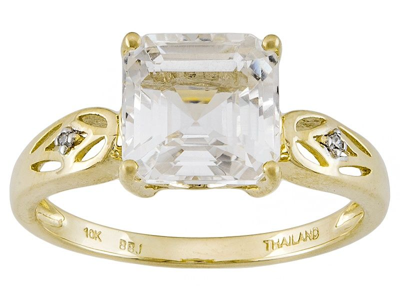 White Danburite 10k Yellow Gold Ring 2 21ctw Gold Rings Yellow Gold Rings 10k Gold Ring