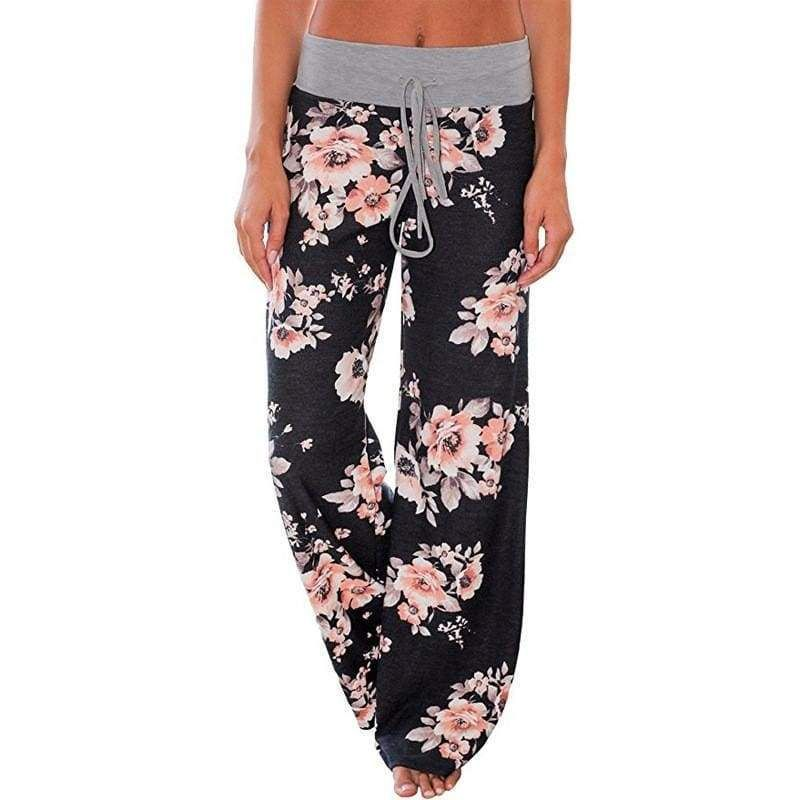 d7ef58643a2e Women Loose Floral Print Wide Leg Pants Loose Mid Waist Straight Trousers  Long Female Trousers Fashion