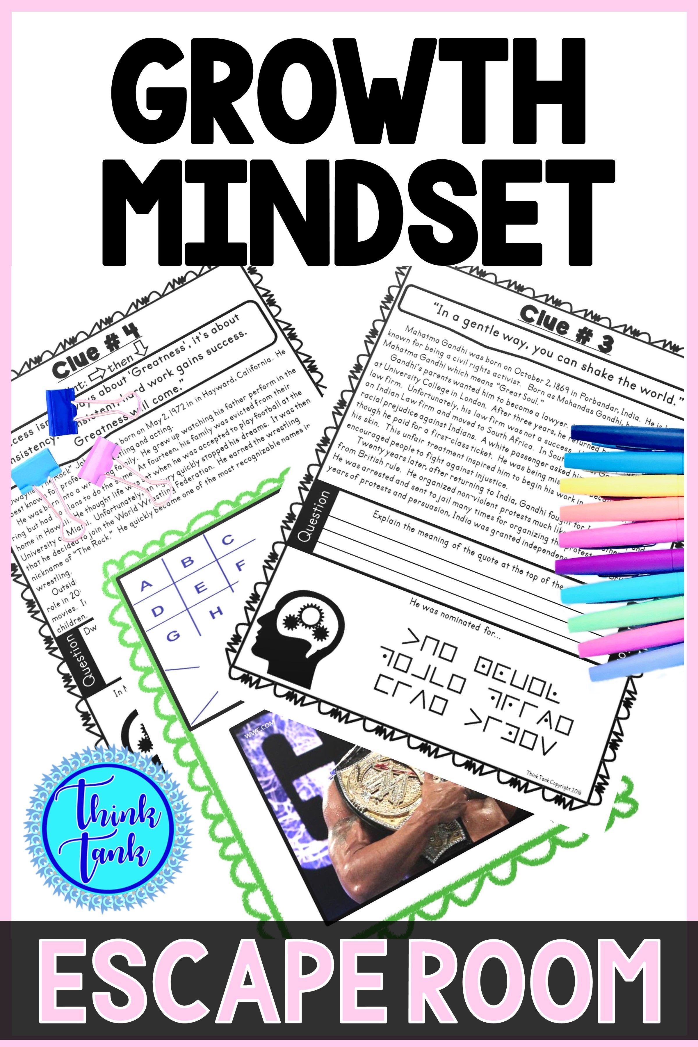 Growth Mindset Escape Room 6 Activity No Prep In