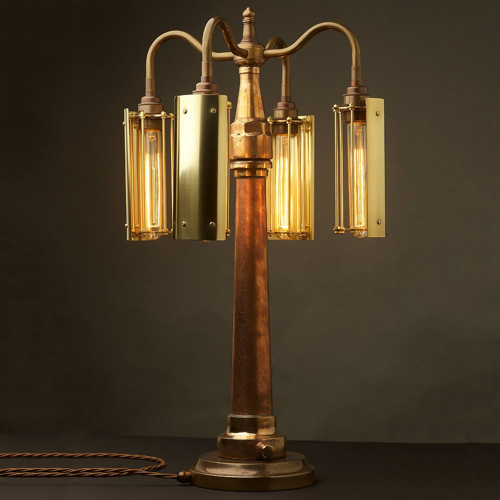 Polished Brass Fire Hose Nozzle Table Lamp Lamp Table Lamp Bulb