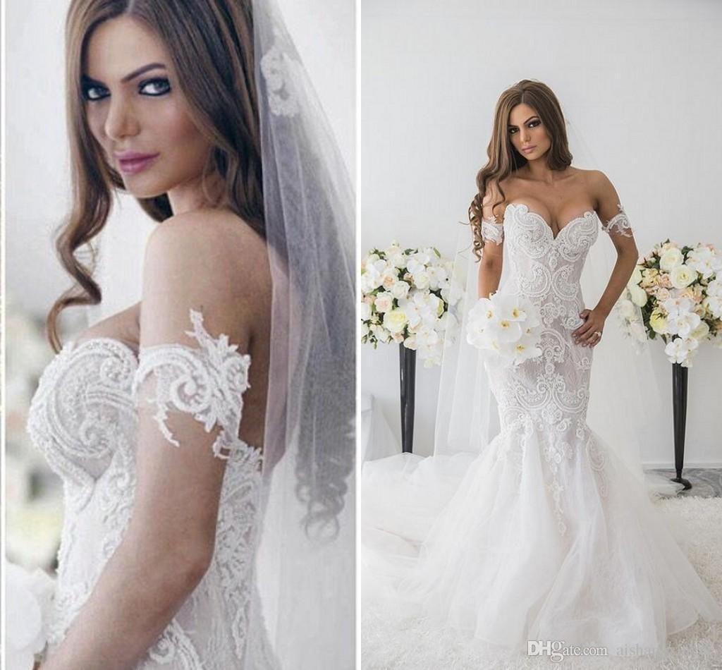 Off white short wedding dresses   New Mermaid Wedding Dresses With Elegant Sweetheart Sleeveless
