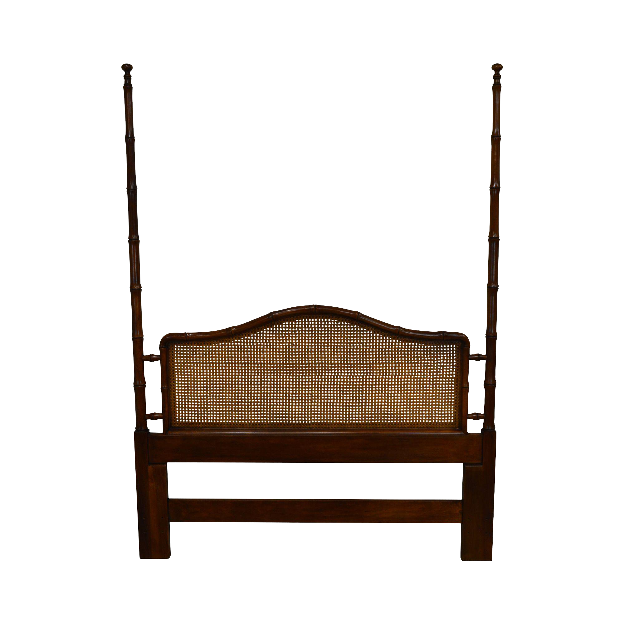 Henredon Mahogany Faux Bamboo Cane Back Queen Poster Bed