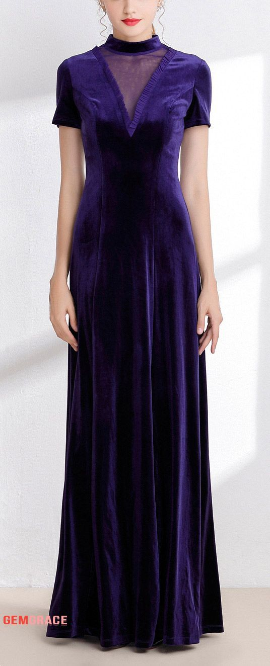 3eff95d49fda3 Special velvet purple long occasion dress with sleeves
