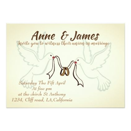 Doves Golden Rings Wedding Invitations