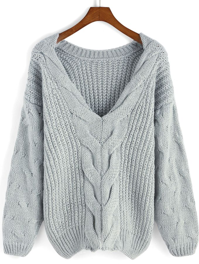 V Neck Cable Knit Grey Sweater