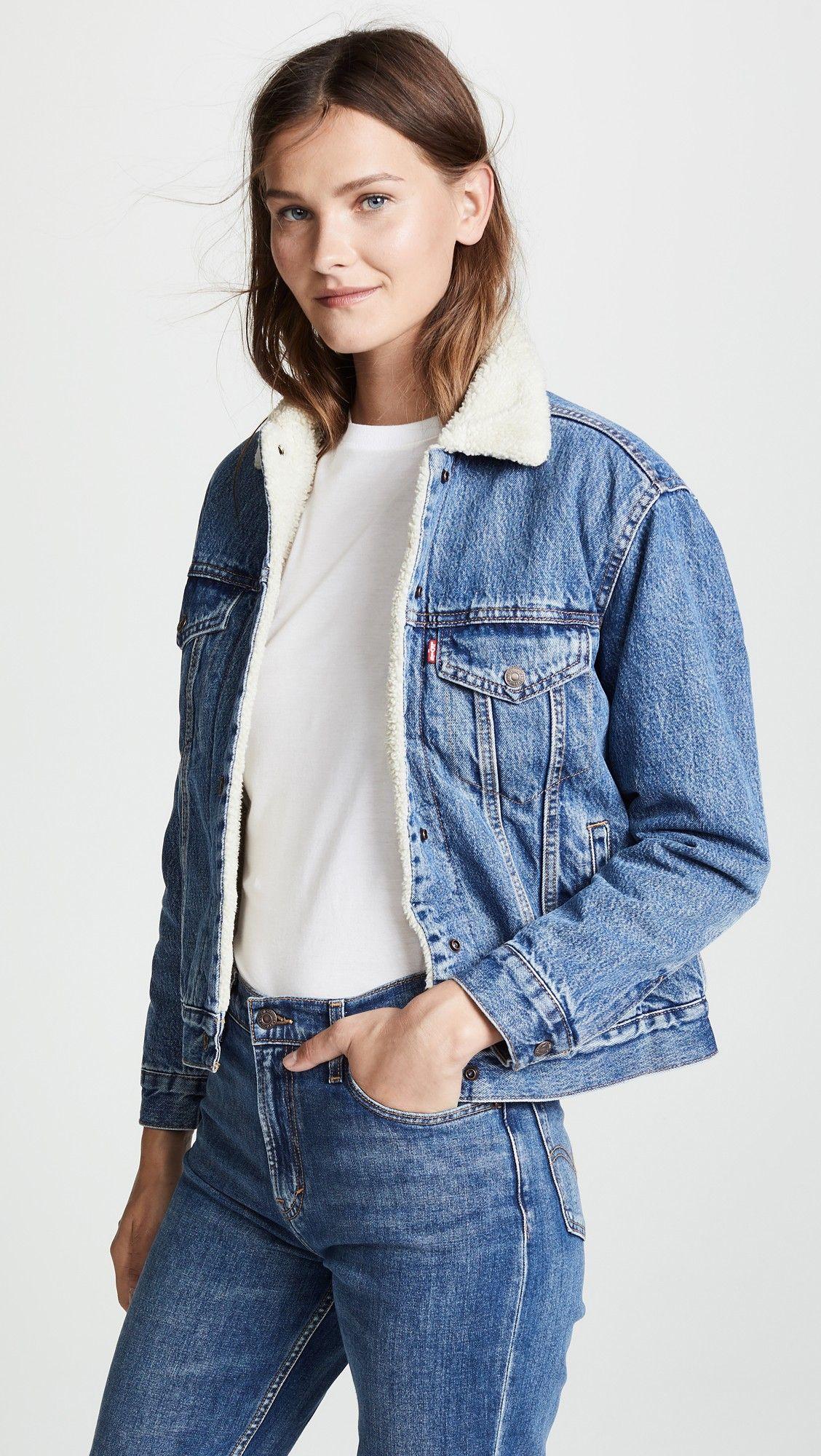 Levi S Ex Boyfriend Sherpa Trucker Jacket Trucker Jacket Women Denim Jacket Women Sherpa Denim Jacket [ 2000 x 1128 Pixel ]